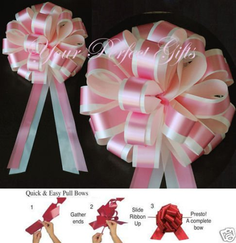 10 PINK IVORY WEDDING 8'' PULL PEW BOW BRIDAL DECORATION