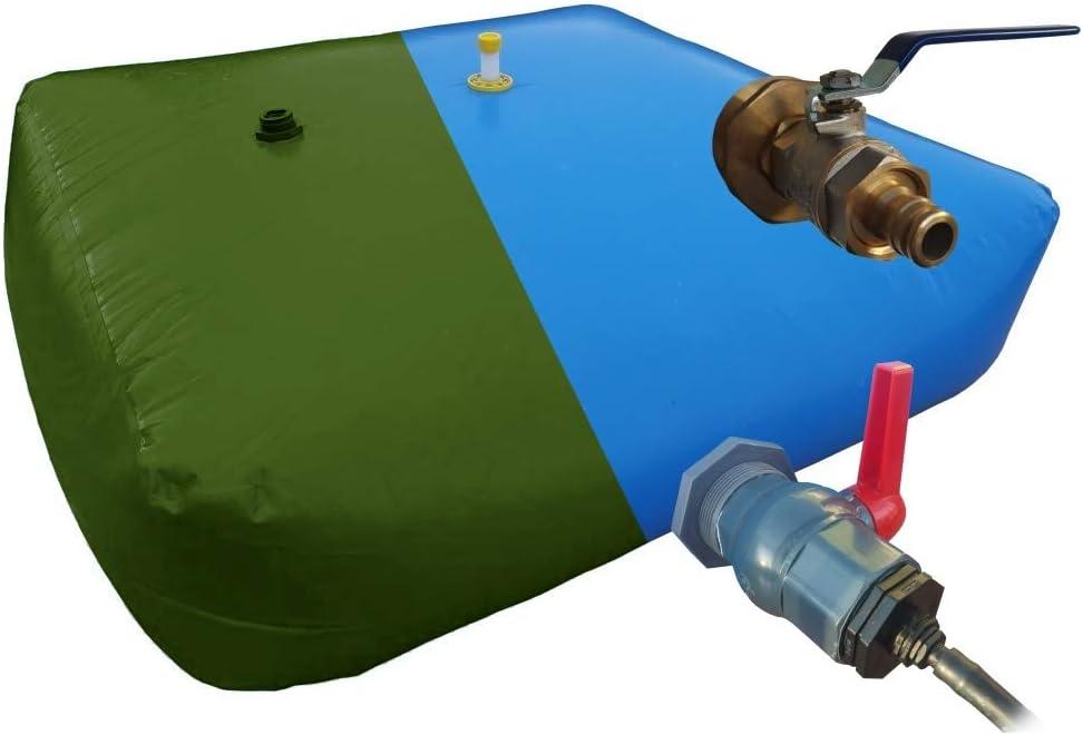 Depósito de Alta Capacidad. Escoge Volumen Desde 1000l, 2000l, 5000l, hasta 10000 litros. Tanque de Agua de Lluvia Flexible para riego (Válvula y adaptadores de Metal, 2000L): Amazon.es: Jardín