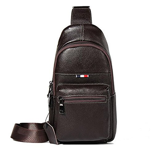 Multifunctional Business Messenger Wenmw Coffee Leather Bag Chest Men's Bag Shoulder Sports Easy Big Casual 4qgZFAUxw