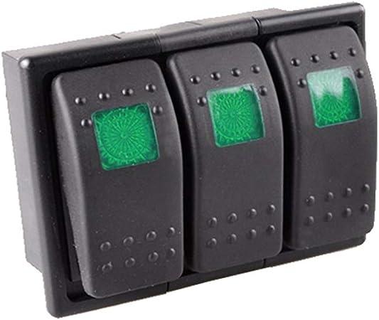 Mintice 3 Stück Kfz Kippschalter Druckschalter Schalter Wippschalter Wasserdicht 12v 20a 24v 10a Grün Led Licht 4pin An Aus Schalterhalter Auto
