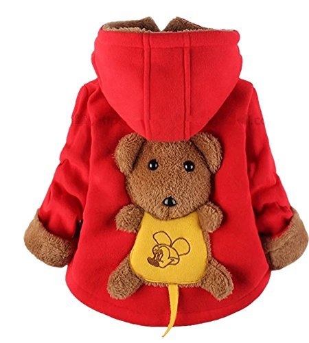 Yan's Baby Winter Coat Jacket Thick Wool Inside Kids Warm Winter Top (10-18Month, Red)