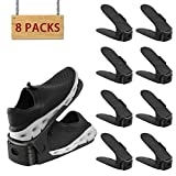 8 PACK HOBFU Shoe Slots 3 Step Adjustable Space Saver Organizer, Adjustable Shoe Slots, Storage Rack Holder closet Organizer Space Saver