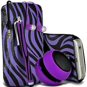 Sony Xperia M Protección Premium de Zebra PU tracción Piel Tab Slip In Pouch Pocket Cordón piel cubierta de la caja de liberación rápida, grande Zebra Stylus Pen, Jack de 3,5 mm auriculares auriculares auriculares y mini recargable portátil de 3,5 mm Cápsula Viajes Bass Speaker Jack púrpura y Negro por Spyrox