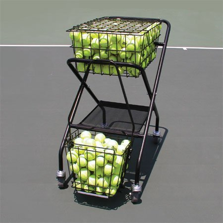 OnCourt OffCourt Tennis Ball Cart – 250 Ball Capacity / Full-Sized Traveling Cart / Comes with Removable Divider by Oncourt Offcourt