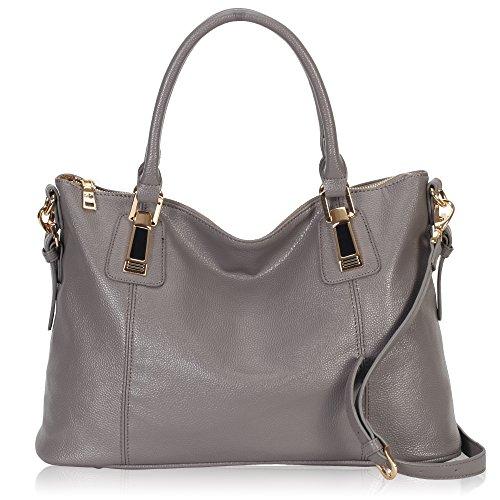 Hynes Victory Womens Large Tote Top Handle Shoulder Handbag Crossbody Bags for Ladies Grey (Metallic Purse Handbag)