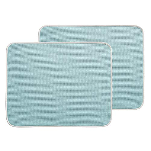 Mat Dish (mDesign Ultra Absorbent Reversible Microfiber Dish Drying Mat and Protector for Kitchen Countertops, Sinks: Folds for Compact Storage, Large - 2 Pack - Aqua Blue/Ivory)
