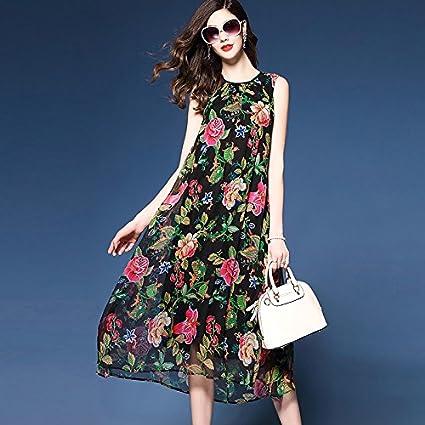 JIALELE Womens Plus Size Boho Loose Chiffon Swing Dress - Floral, Stylish Chiffon Printing,