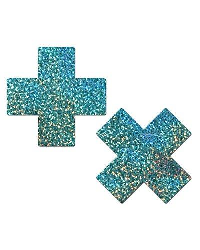 iHeartRaves Aqua Hologram Cross Rave Pasties (Set of 2 Pasties)