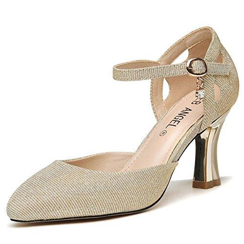HGTYU-8Cm Los Zapatos De Tacón Alto Desglosadas Por Los Zapatos De Mujer En El Verano De Y De La Piel Primavera Solo Zapatos Sandalias Ranuradas Tie Gold