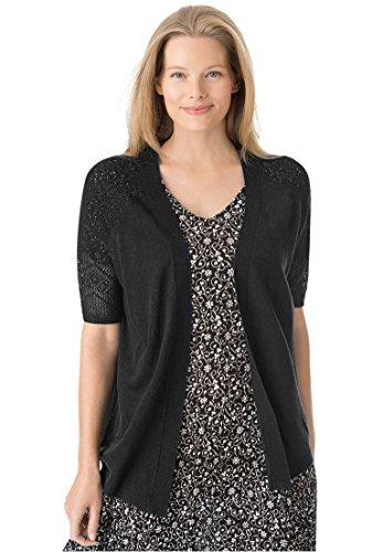 Woman Within Women's Plus Size Open Front Short Sleeve Pointelle Cardigan Sweater Black,L (Trim Sweater Pointelle)