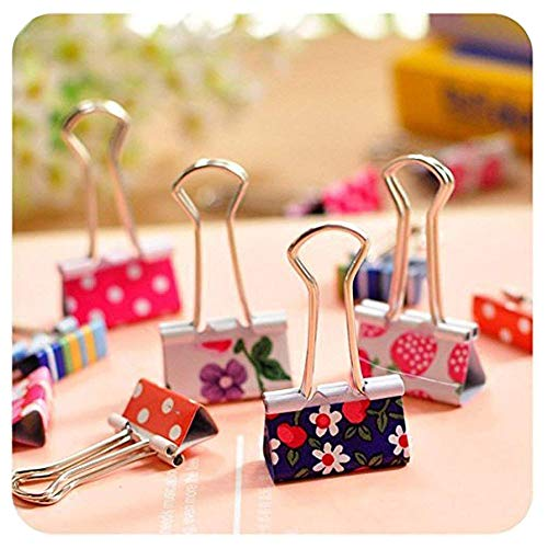 Pack of 24 Binder Clips, Lovely Cute Printing Style Metal Paper Clips Clamps (Pack of - Clip Binder Design