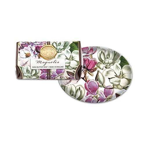 - Michel Design Works Bath Soap Bar & Glass Soap Dish (Magnolia)