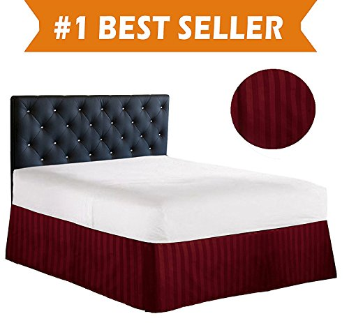 Burgundy King Ruffle (Luxury Bed Skirt on Amazon! Celine Linen Luxury 1500 Thread Count Wrinkle Resistant Egyptian Quality STRIPE Bed Skirt / Dust Ruffle - Pleated Tailored 14inch Drop, King, Burgundy)