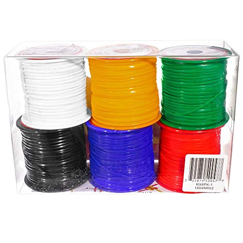 Craft County Rexlace 6 Pack of 50 Yard / 45 Meter Spools - Non-Toxic Plastic Lacing - Primary Colors -