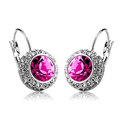 2015 MANDI HOME 1 Pair Women Fashion Rhinestone Crystal Dangle Earrings Ear Hook Stud (Hot Pink)