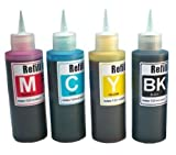 Ink refill set for CIS/CISS or refillable cartridges using Epson 68, 69 ink: Workforce 40, 310, 500, 600, 610 & NX100, NX115, NX200, NX215, NX400, NX415, NX515