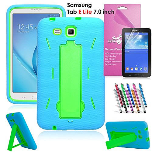 Samsung Galaxy Tab E Lite 7.0 Case, EpicGadget(TM) Heavy Duty Rugged Impact Hybrid Case with Build In stand Protection Cover For Galaxy Tab E 7 Lite T113 + Screen Protector +Pen(US Seller)(Blue/Green)