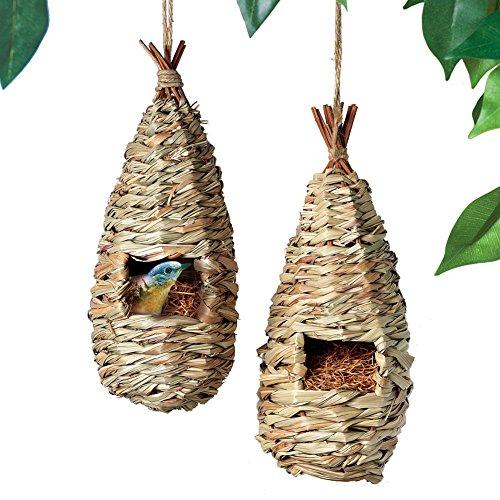 Collections Etc Set of 2 Woven Acacia Wood Teardrop Nesting Bird House Condos