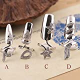 LOHOME Fingernails Ring, Sterling Silver Nail Art Charms Women's Retro Fashion Protecting Fingernail Nail Decoration Tip Nail Finger Ring Cute Nail (A+B+C+D)