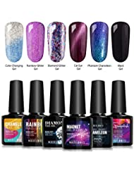 Modelones Soak Off UV LED Gel Nail Polish Set - 6 Color...