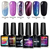 Modelones Soak Off UV LED Gel Nail Polish Set - 6 Color Collection Cat Eyes Color Changing Glitter Gel Phantom Chameleon and Black Gel 0.33 OZ