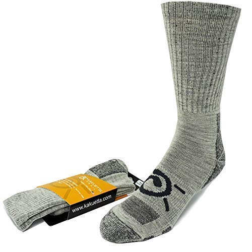 Kakuetta Trail Summer Hiking Socks Mens and Womens Merino Wool for Boots Shoes and Work Medium ()