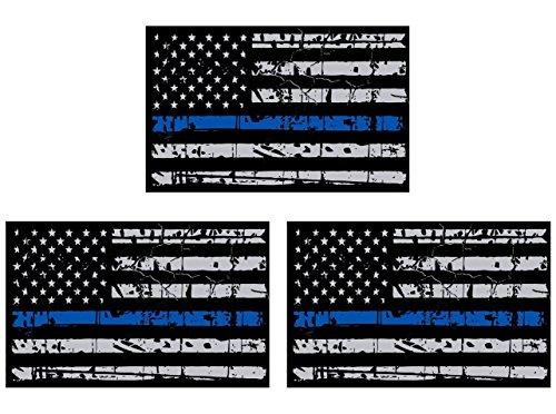 3Pcs Blueline Flags Subdued Thin Vinyl Decal  American Flag Sticker Honoring Our Men   Women Of Law Enforcement   Car Sticker  4  X2 5  3M Material