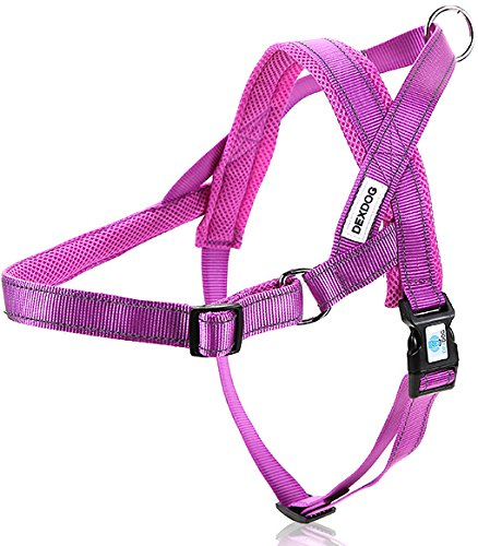 DEXDOG #1 Best Dog Harness — EZHarness On/Off Walk in Seconds! [Purple Small S] — Easy Quicker Step in Dog Harness Vest — Puppy Reflective Mesh Handle Adjustable ()