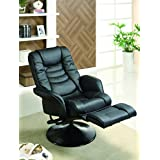 Coaster Casual Black Faux Leather Swivel Recliner