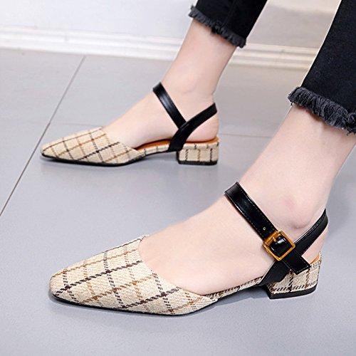 Sandalias Punta Zapatos Wild Burdo Zapatos Zapatos Beige De Verano GAOLIM Primavera De Estudiantes Mujer Mujeres Baotou Con 6p0dqEv