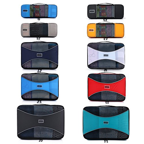 Pro Packing Cubes 10 Piece Lightweight Travel Cube Set of Suitcase Organizers ()