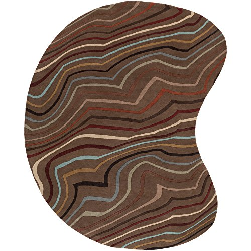Surya Forum FM-7155 Contemporary Hand Tufted 100% Wool Coffee Bean 8' x 10' Kidney Abstract Area Rug - 10' Kidney Area Rug