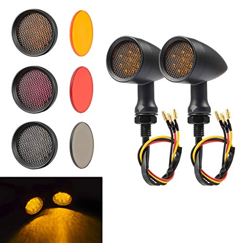 PBYMT Motorcycle Bullet Turn Signal Light Amber Lamp Compatible for