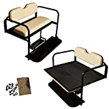 Club Car DS Golf Cart Rear Flip Folding Back Seat Kit, 1982 to 2000.5 - Buff/Beige Cushions