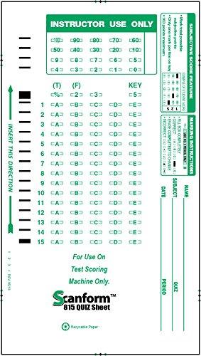 SCANFORM-815 QUIZ 815-E Compatible Test Forms (100/pkg)