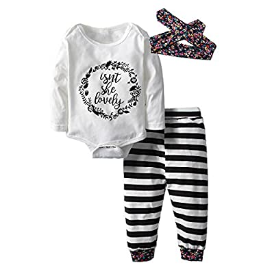 Big Elephant Baby Girls' 3 Piece Graphic Long Sleeve Pants Clothing Set with Hat H58