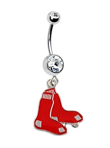 Amazon Com Boston Red Sox Baseball Team Navel Belly Button Ring