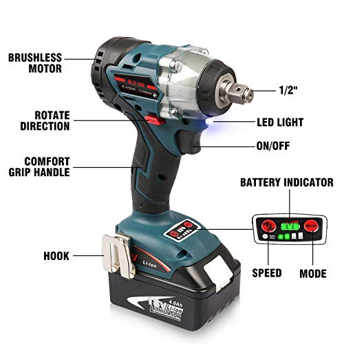 Enegitech 18V Cordless Impact Wrench Brushless, 4 Rev 1/2'' Automatic Power Tool for Car Tyre, Compatible with Makita 18 volt Lithium-Ion Battery(Tool Only) by Enegitech (Image #2)