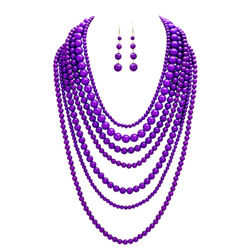 Rosemarie Collections Women's Fashion Jewelry Set Beaded Multi Strand Bib Necklace (Violet Purple) (Beaded Purple Jewelry Set)