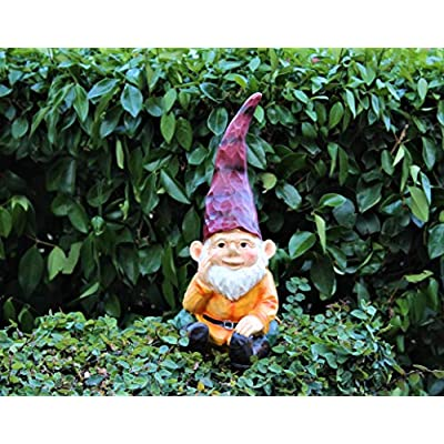 Cute Wood Look Resin Colorful Sitting Garden Gnome Statue Indoor Outdoor Yard Lawn Patio Ornament Figurine Decorative Home Kitchen Office Sculpture Decor Garden Accessories Kit Size 12 inches Tall : Garden & Outdoor