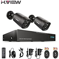 H.View Surveillance Camera System 4.0MP Security Systems 4 Channel 5.0MP DVR and 2x 1440P(4.0MP) Security Cameras (P2P Technology, 5-in-1 DVR Support 5.0MP Camera, 35M Night Vision )