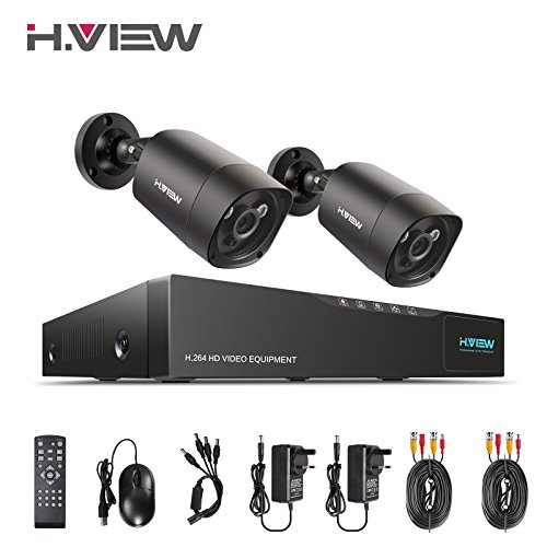 H.View Surveillance Camera System 4.0MP Security Systems 4 Channel 5.0MP DVR and 2x 1440P(4.0MP) Security Cameras (P2P Technology, 5-in-1 DVR Support 5.0MP Camera, 35M Night Vision)