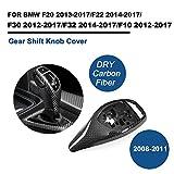 TGFOF Dry Real Carbon Fiber Gear Shift Knob Covers for BMW 1 Series F20 2 Series F22 3 Series F30 4 Series F32 5 Series F10 (M-Sport)