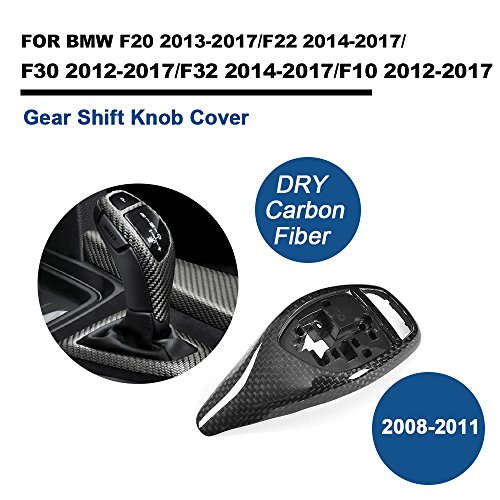 TGFOF Dry Real Carbon Fiber Gear Shift Knob Covers for BMW 1 Series F20 2 Series F22 3 Series F30 4 Series F32 5 Series F10 - Bmw Shift Knob Performance