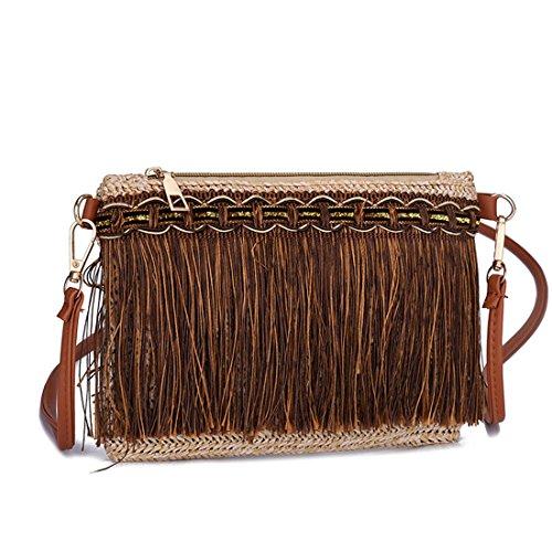 de Luckywe mensajero mujeres Personalidad de borlas de bolso Diseñador tejer Caqui moda cuero bolsa qxSqwnrz1R