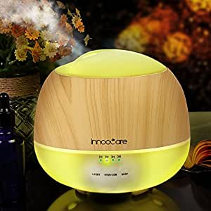 Essential Oil Diffuser, 500ML, InnooCare Wood Grain Aromatherapy Diffuser, Ultrasonic Cool Mist Humidifier with 7 Color Changing LED Lights and Timer Settings, Waterless Auto off