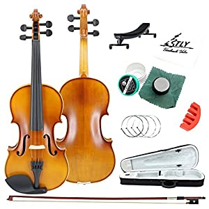 TLY Acoustic Professional Handmade Violin Wooden Outfit Beginner Pack for Student, 4/4 Size (Full Size)