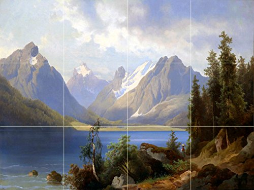 Landscape mountain lake trees by Josef Thoma Tile Mural Kitchen Bathroom Wall Backsplash Behind Stove Range Sink Splashback 4x3 6'' Rialto by FlekmanArt
