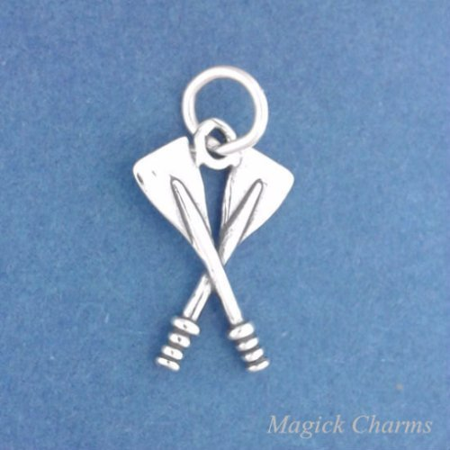 Sterling Silver 3-D CROSSED OARS Charm Canoe Paddles Rowing Pendant - f5402 Jewelry Making Supply Pendant Bracelet DIY Crafting by Wholesale Charms