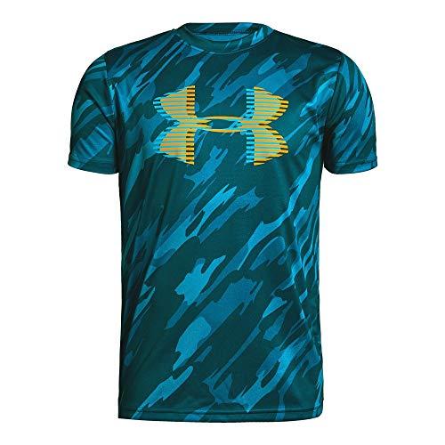 Under Armour Boys' Tech Big Logo Printed T-Shirt, Techno Teal (489)/Magma Orange, Youth X-Large